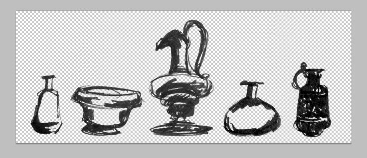 Cut background (Cmd+X), leaving line art.